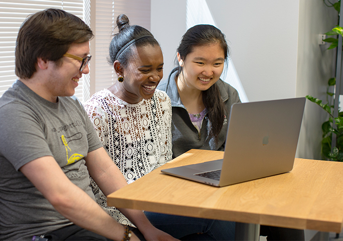 Julia Gong, right, with Adobe Research interns Luis Figueroa Romero and Gabrielle Taylor. Photo by Claire (Qin) Li.